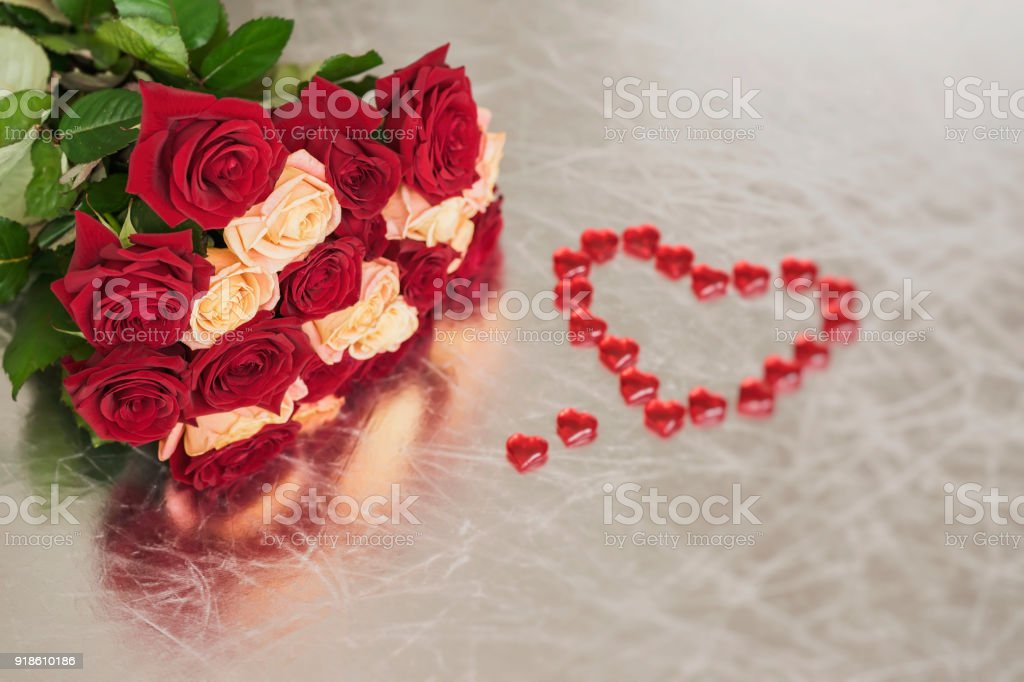 Bouquet Of Roses Of Two Colors For Beloved And Red Heart Symbol Of