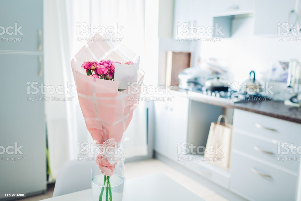 Bouquet Of Roses On Kitchen Modern Kitchen Design Interior Of Kitchen Decorated With Flowers Stock Photo Download Image Now Istock