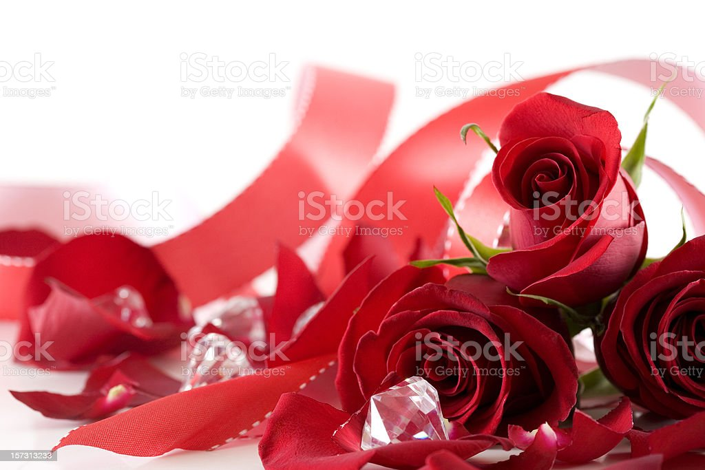 Bouquet of Roses, Ribbon, Diamonds for Wedding or Valentines, Copyspace royalty-free stock photo