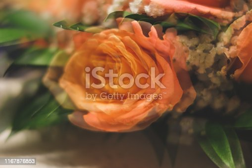 1129427811 istock photo Bouquet of roses with double exposure abstract background 1167876853