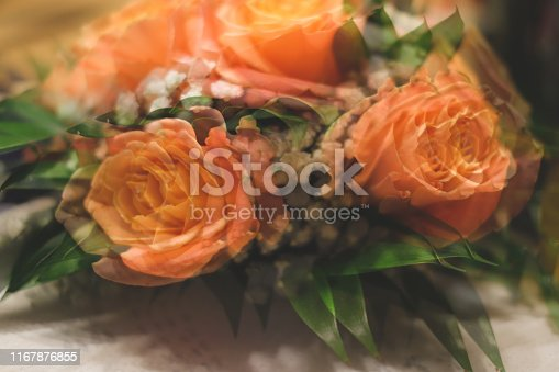 1129427811 istock photo Bouquet of roses with double exposure abstract background 1167876855