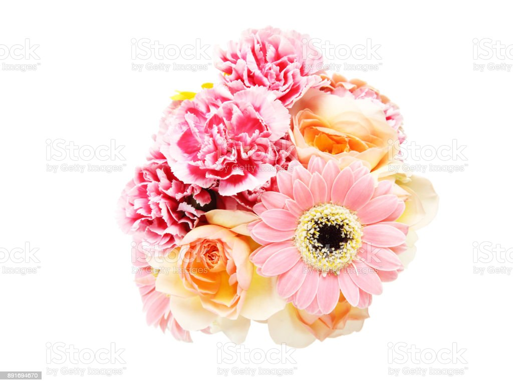 bouquet of rose,transvaal daisy and carnation in a white background stock photo