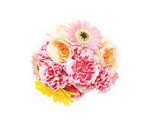 バラ、ガーベラ、白背景でカーネーションの花束