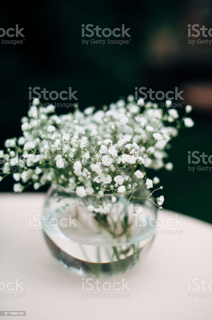 Bouquet Of Small White Flower In Clear Vase stock photo | iStock
