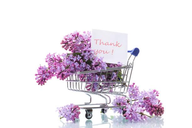 花束春天開花的丁香在購物車圖像檔