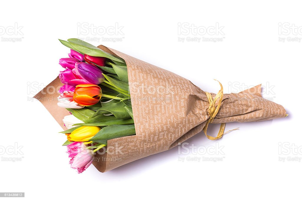 Bouquet of spring tulips flowers wrapped in gift paper stock photo bouquet of spring tulips flowers wrapped in gift paper royalty free stock photo mightylinksfo
