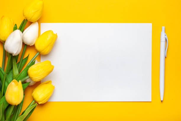春天的鬱金香花束在明亮的背景。賀卡。文本空間。 - thank you background 個照片及圖片檔