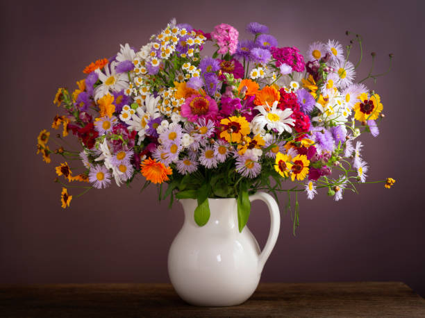 bukett av sommar blommor i en burk - flower bouquet blue and white bildbanksfoton och bilder