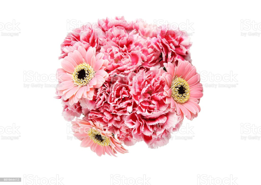 Pictured bouquet of transvaal daisy and carnation in a white...