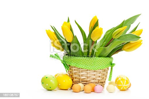 bouquet of tulips and eggs isolated on white