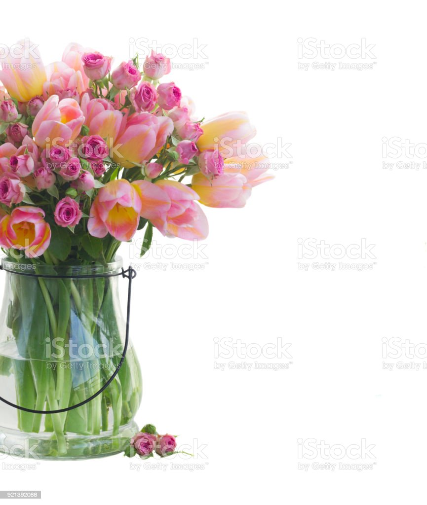 bouquet of tulips and roses - foto stock