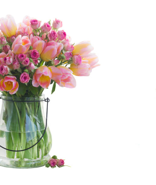 bouquet of tulips and roses stock photo