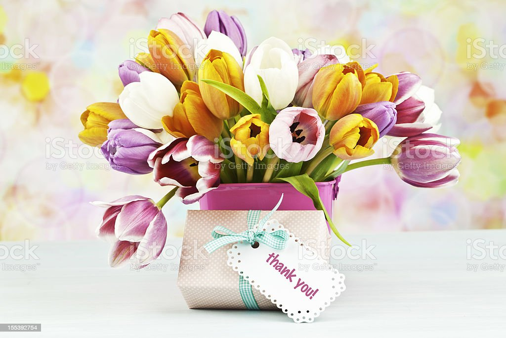 Bouquet Of Tulips And Thank You Gift Stock Photo & More Pictures of ...
