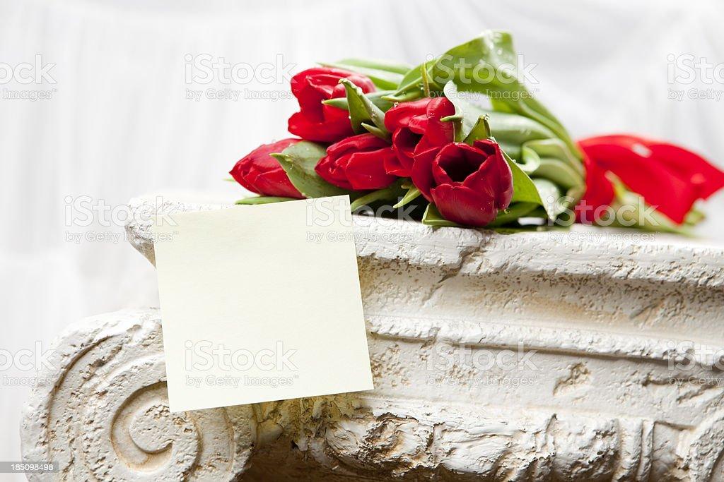 bouquet of tulips on the Greek column XXXL royalty-free stock photo
