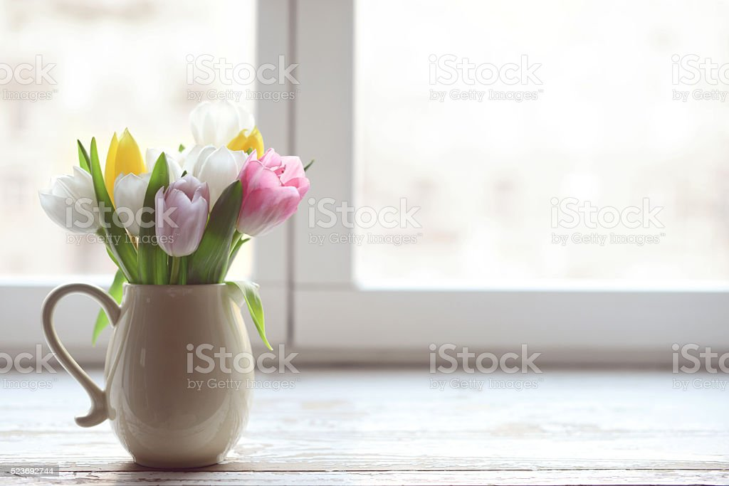 bouquet of tulips stock photo