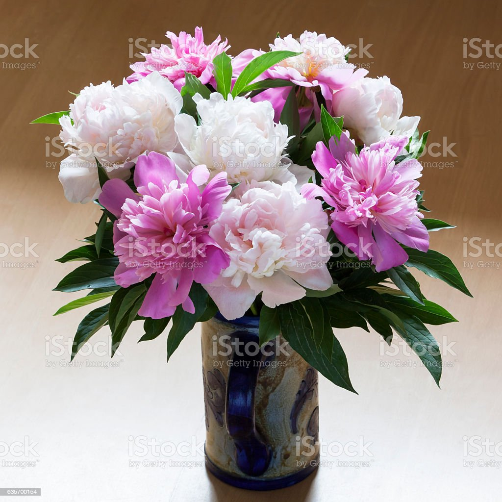 Bouquet of white and pink peonies in a stein. royalty-free stock photo