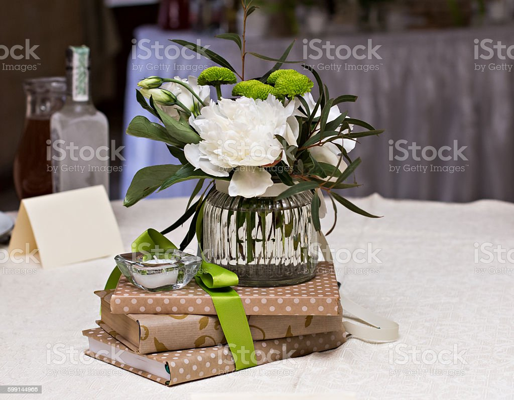 Bouquet Of White Flowers Wedding Table Decor Stock Photo More
