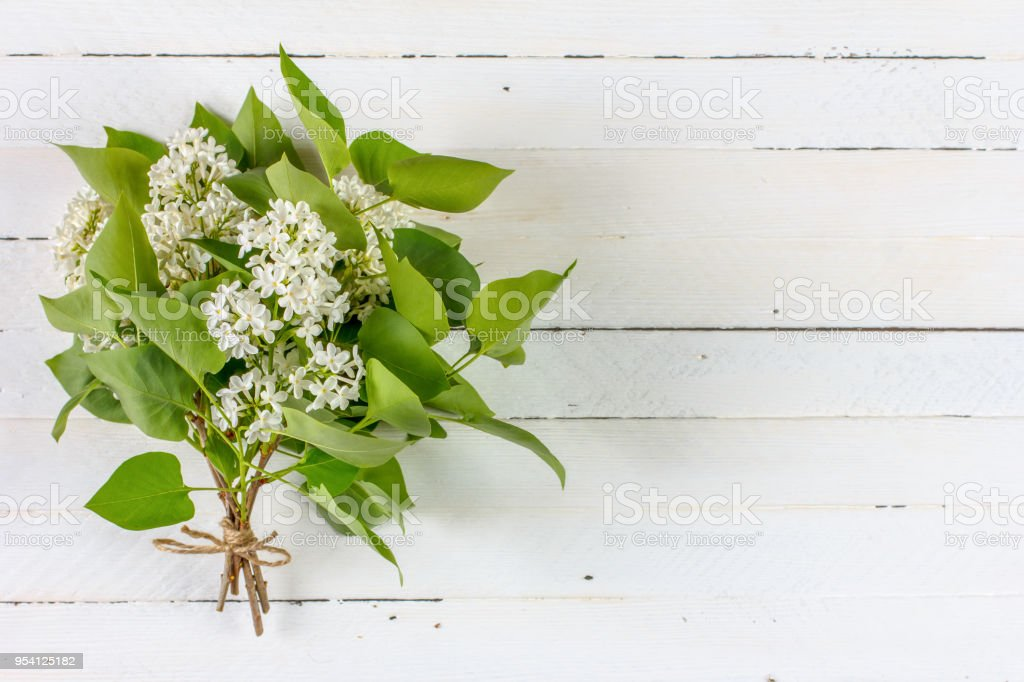 bouquet of white lilac flowers on white wooden background with copy