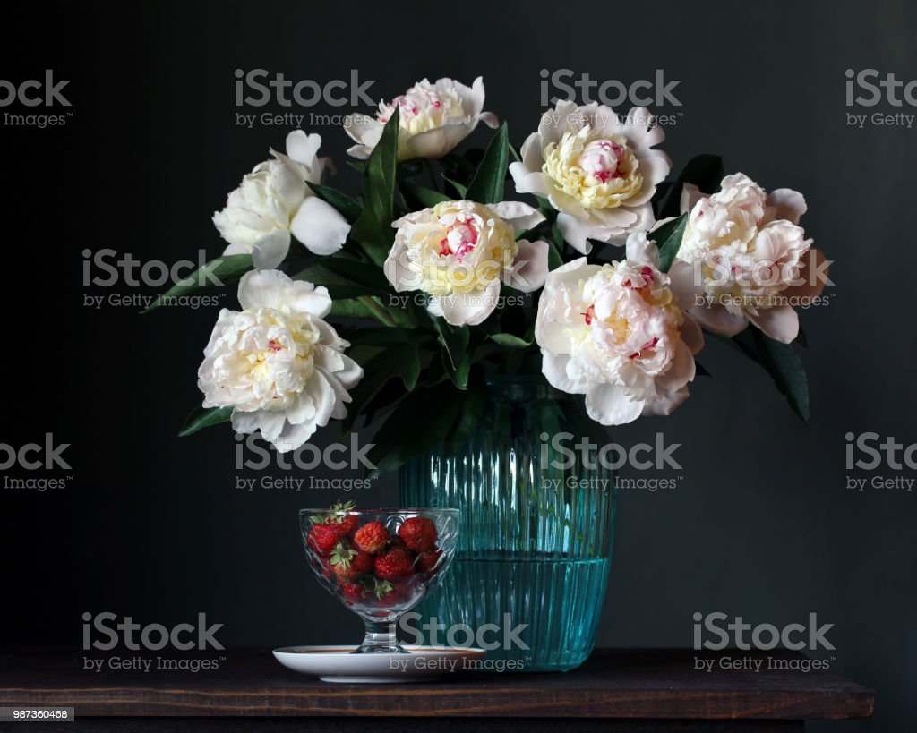 Bouquet Of White Peonies In Vase And Strawberries Stock Photo Download Image Now Istock