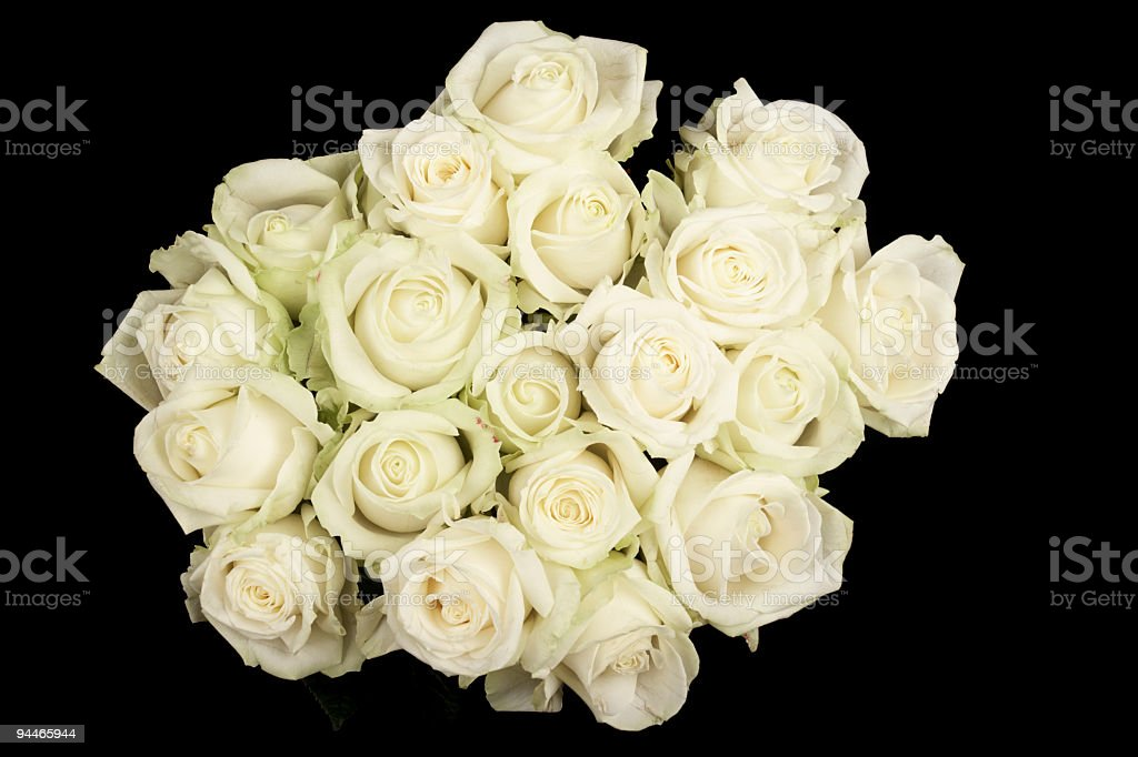 bouquet of white roses on black royalty-free stock photo