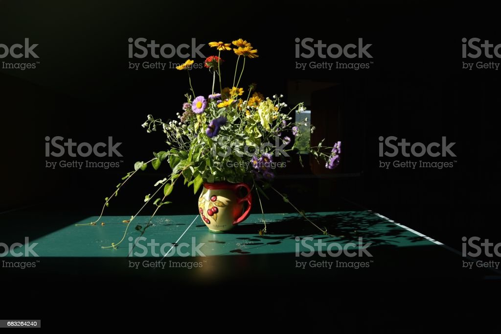 bouquet of wild flowers in the dark room in beams of the sun on green  table royalty-free 스톡 사진