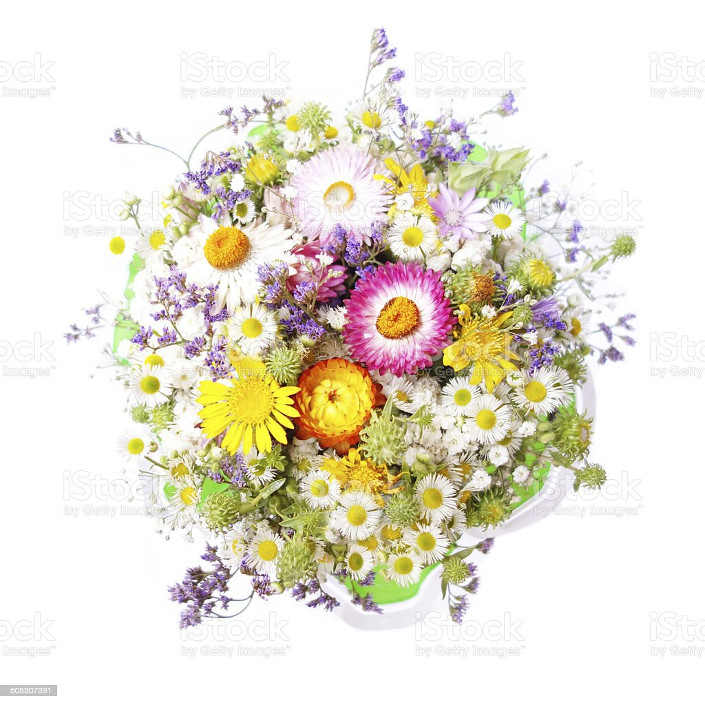 Bouquet of wild flowers top view stok fotoraflar baharnin daha bouquet of wild flowers top view royalty free stock photo izmirmasajfo