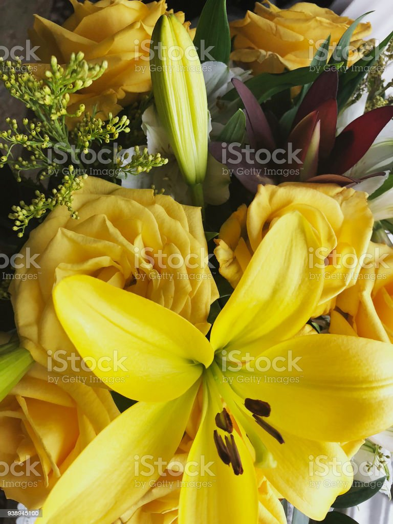 Bouquet Of Yellow Flowers Of Roses And Lilies Stock Photo More