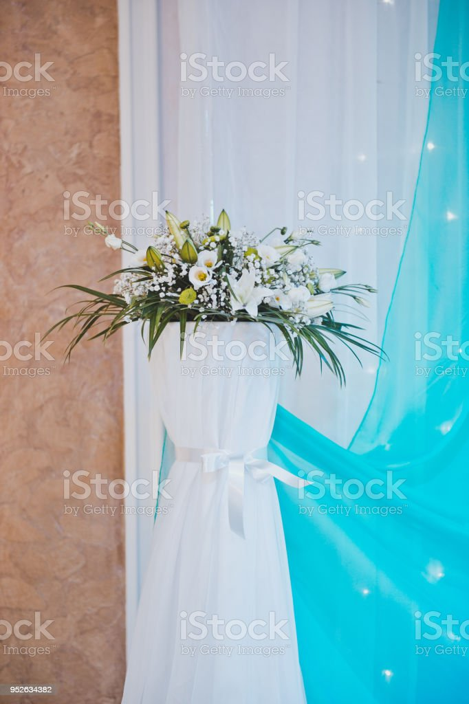 Bouquet on a curbstone 1760. stock photo