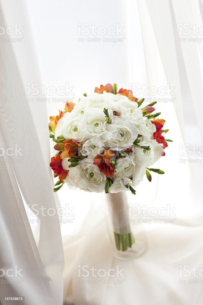 bouquet on the window royalty-free stock photo