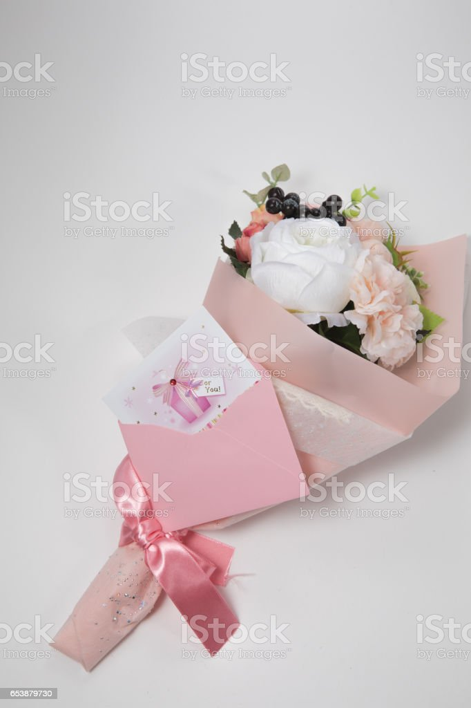 Bouquet on white background stock photo