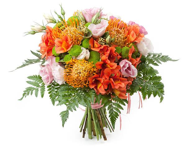 bouquet - protea strauß stock-fotos und bilder