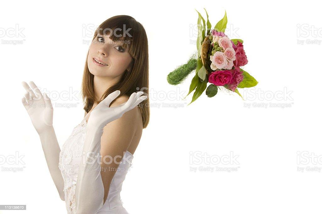 Bouquet toss. stock photo