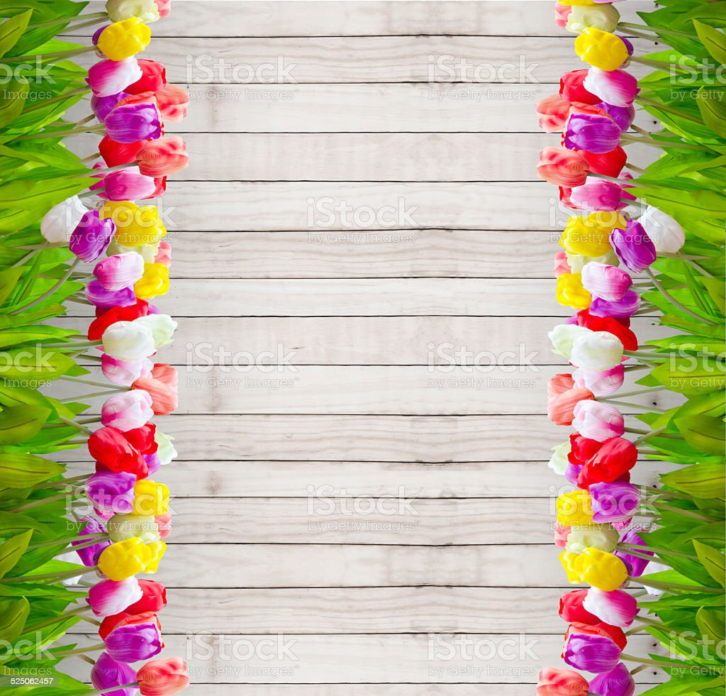 Bouquet tulip flowers  on wooden. stock photo