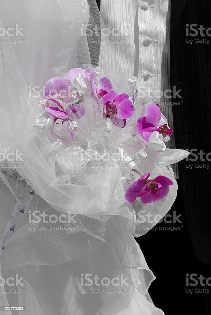 Bouquet violet de mariée orchidée stock photo