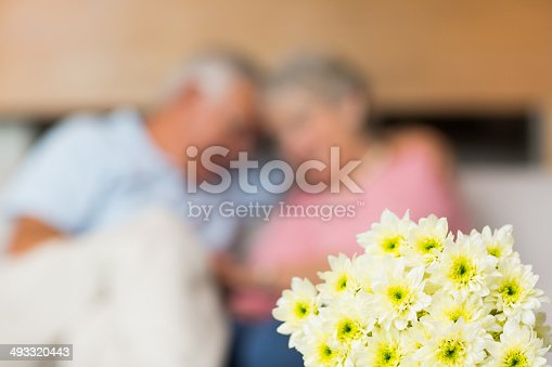 Bouquet of fresh flower with senior couple in background at home