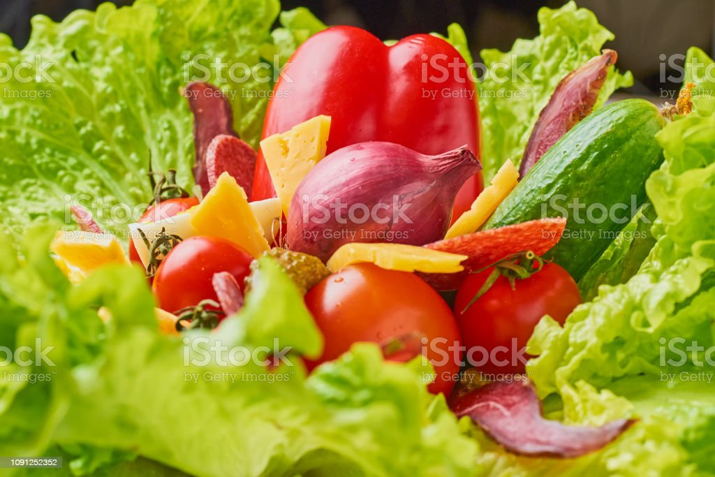 Bouquet with ingredients for healthy nutririon or diet. Lettuce with...