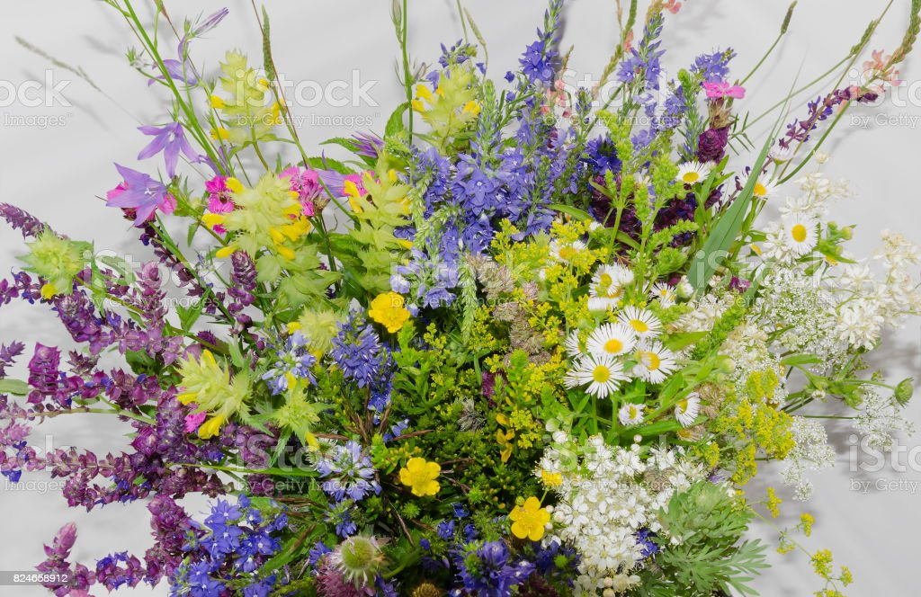 Bouquet with meadow flowers stock photo