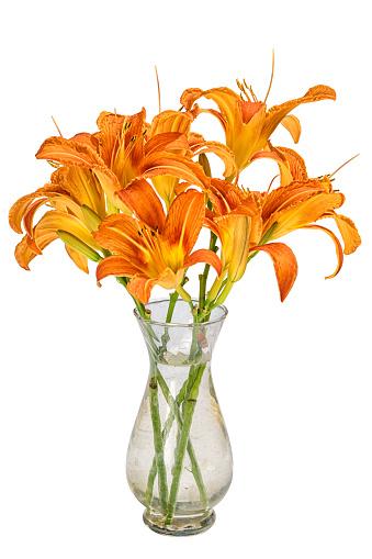 Bouquet With Orange Hemerocallis Flowers In A Small ...
