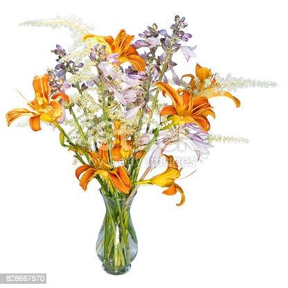 Imagen De Ramo Con Flores De Hemerocallis Naranja Blanco Azul Y