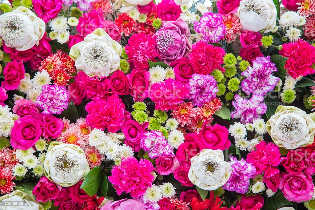 Bouquets flower, Colorful background bunch flowers stock photo