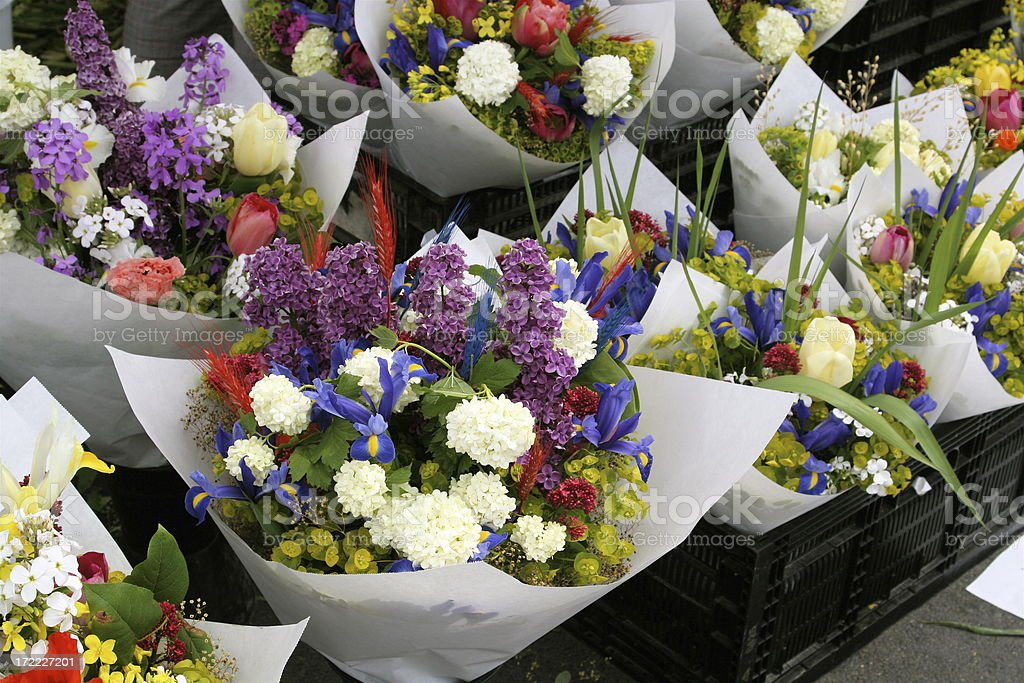 Bouquets of Flowers For Sale royalty-free stock photo