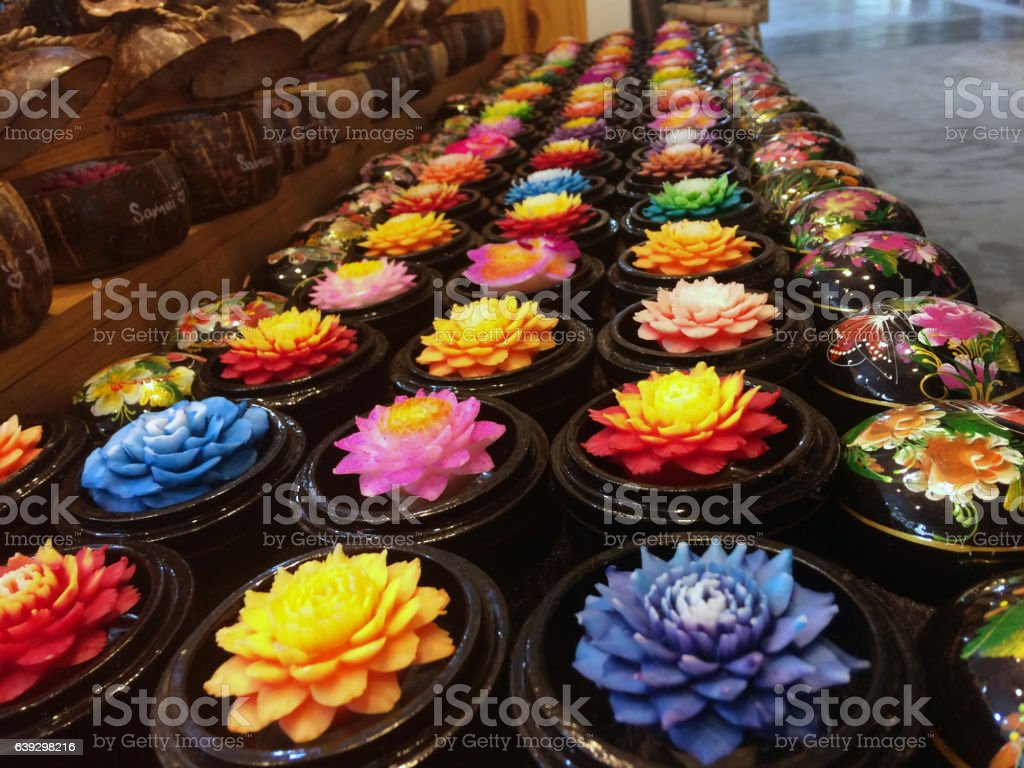 Bouquets of fresh lotus buds beaded with water at the stock photo