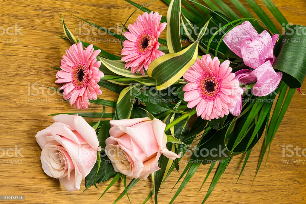 Bouquets of roses and gerberas royalty-free stock photo