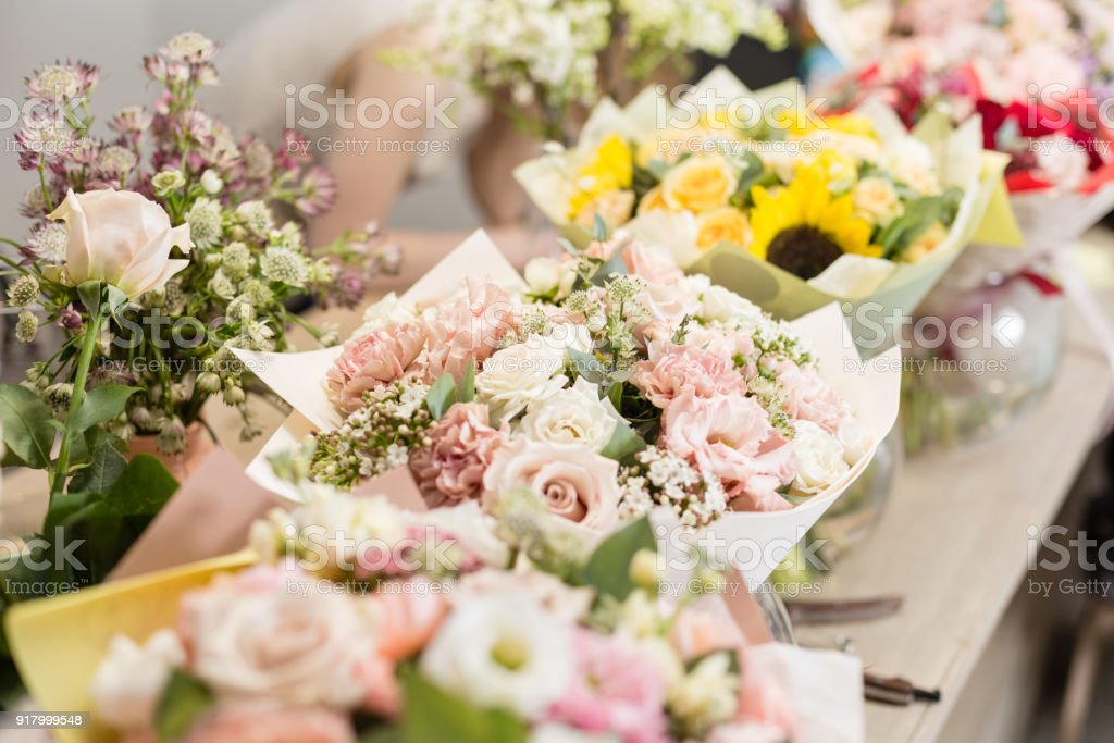 Bouquets on table florist business different varieties fresh spring bouquets on table florist business different varieties fresh spring flowers delivery service mightylinksfo