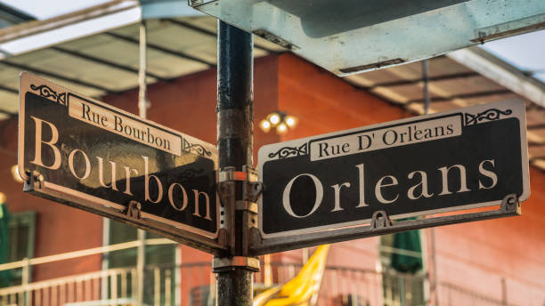 Bourbon and Orleans street signs in New Orleans, USA stock photo