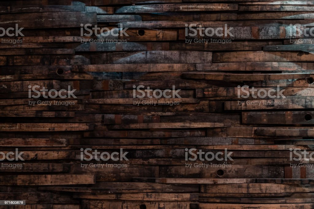 Bourbon Barrel Staves on Wall Texture stock photo
