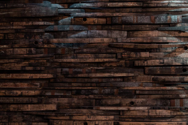 bourbon barrel staves on wall texture - barrel stock pictures, royalty-free photos & images