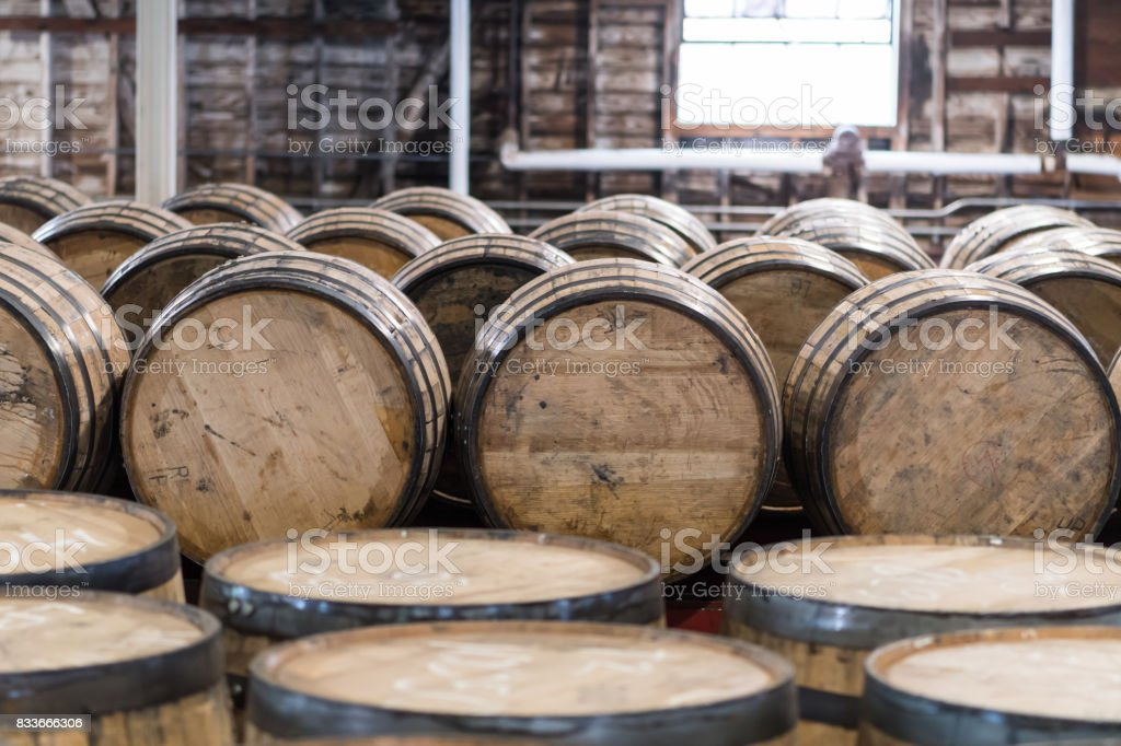 Bourbon Barrel Storage Room stock photo
