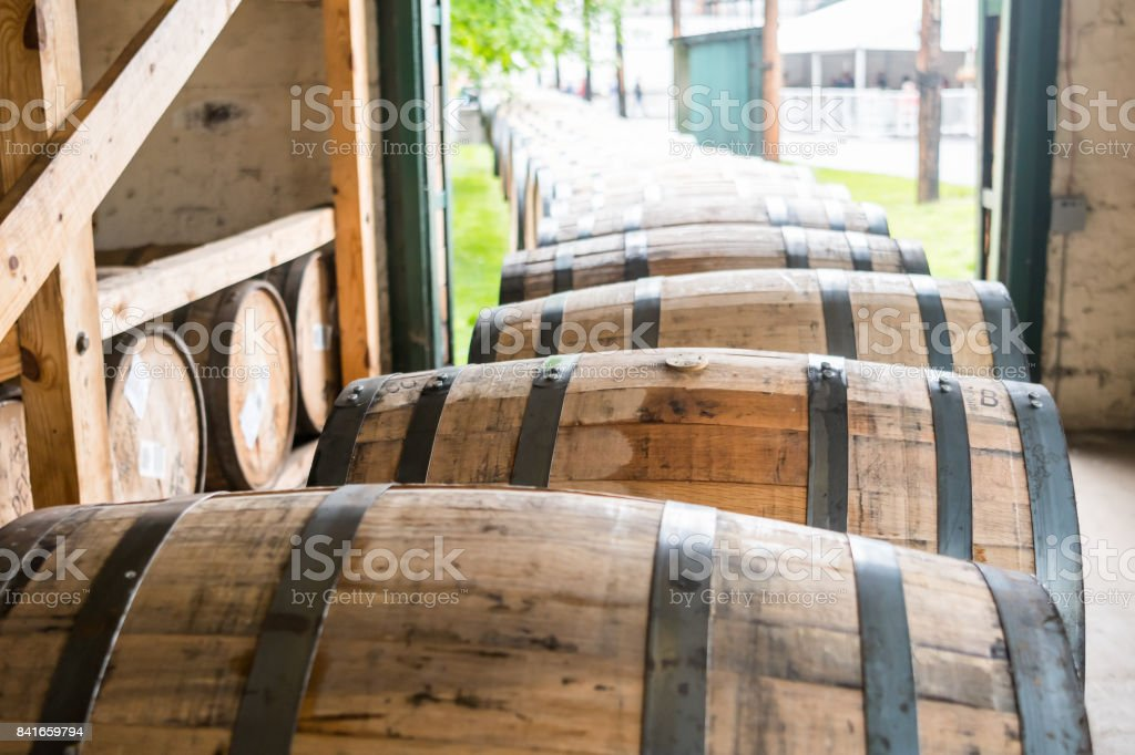 Bourbon Barrels Heading for Aging stock photo