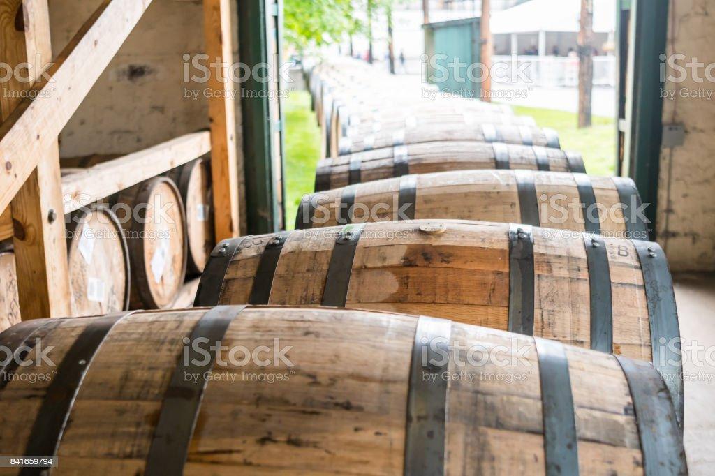 Bourbon Barrels Heading for Aging stock photo
